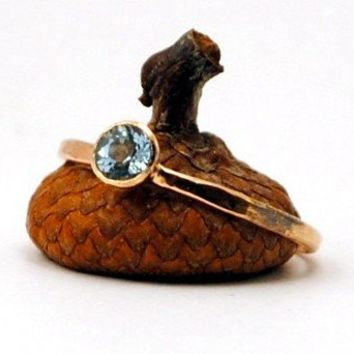 Rose Gold Faceted Aquamarine Ring by DalkullanJewelry on Etsy
