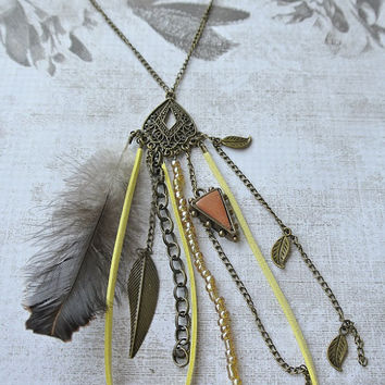 Dream Catcher Terracotta Clay Necklace - Antique Brass chain - Yellow Faux Suede Cord Feather Indian