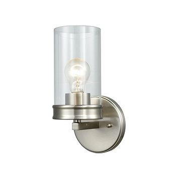 Leland 1-Light Vanity Lamp in Satin Nickel with Clear Blown Glass