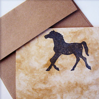 Horse Stationery Set, horses letter writing stationary, earth friendly equine coffee paper