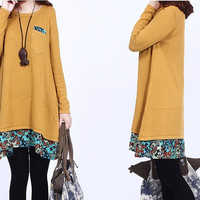 women cotton sweater casual loose sweater plus size sweater  cotton loose blouse long sleeve blouse Round  neck sweater dress