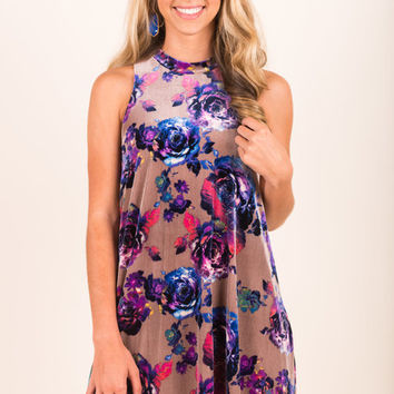 Master Of Florals Dress, Taupe