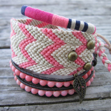 Ready To ShipThe Bohemian Bracelet Set In Pink by NoliePolieOlies