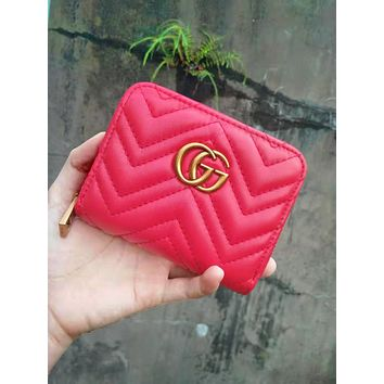 Free shipping-GUCCI classic female zipper wallet Red