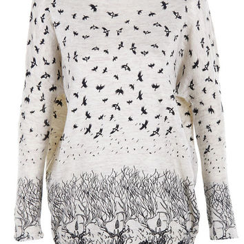 Birds print top jumper knitwear oversized top shirt womens ladies cardigan