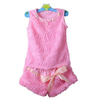 Girls Pink Rose 2pc Floral Vest + Shorts Suit