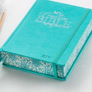 KJV My Creative Bible-Journaling Bible In Teal Hardcover
