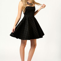 Frankie Flock Spot Bandeau Skater Dress