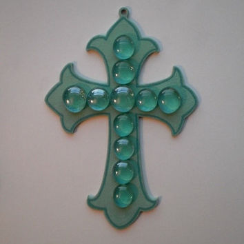 AQUAMARINE WALL CROSS - Blue/Green with Glass Gems