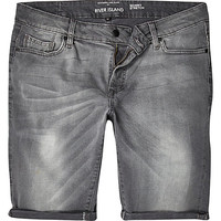 River Island MensGrey skinny stretch denim shorts