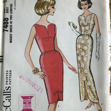 Vintage McCalls 7488 Pattern Size 12 Bust 32 Dress in Two lengths