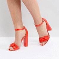 Lost Ink Red Block Heeled Sandals at asos.com