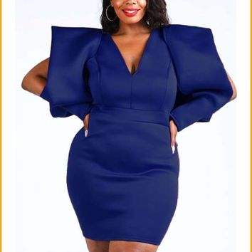 Extended Sizes Super Shoulder Super Techno Dress