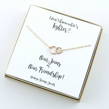 Best Friend Gift/ Gift for her/ Best Friend Necklace/ Eternity Necklace /Gold Necklace/ Gift Box/ Silver circle Necklace/ Minimalist
