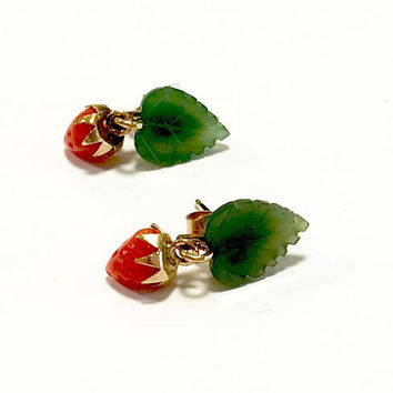 Jade Coral Earrings, Carved Jade Leaf And Red Coral Strawberry, Dangle Earrings, Pierced Back Posts, 14k Gold Filled, Vintage Gift For Her