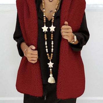 New Red Pockets Faux Fur Hooded Oversize Casual Vest