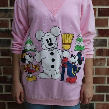 RARE Vintage Disney Mickey Minnie Mouse Christmas Winter Snowman Sweater 80s 1980s 3/4 Sleeve