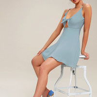 Play It Cool Light Blue Tie-Front Skater Dress