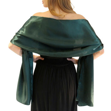 Elegant emerald green Satin wrap shawl Evening party wrap Bridal Wedding shawl  2 size Free shipping OEM order accepted