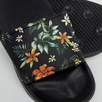 ASOS Slider In Black With Hawaiian Print at asos.com