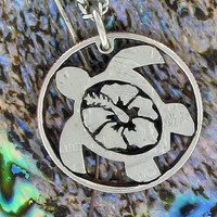 Hibiscus Flower in Turtle quarter cut coin necklace by NameCoins