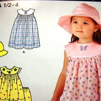 Simplicity Toddler Girls Dress Pattern with Top Panties and Hat size 1/2 1 2 3 4 UNCUT