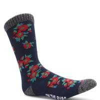 On The Byas Little Flowers Crew Socks - Mens Socks - Blue - One