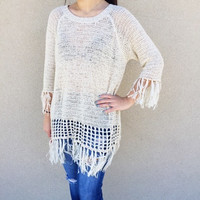 Fringe Hem Knitted Sweater- Beige