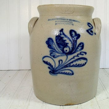 Vintage StoneWare Two Handled Crock - Harrington & Burger Rochester New York Pottery - Grey with Blue Slip Cabbage Flower Design Salt Glaze