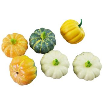 6pcs Simulation Lifelike Artificial Small Foam Pumpkins Party Supplies Table Centerpiece Photo Props Halloween Decoration