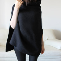 Wool coat, Italian black wool cape, high quality big stand collar poncho, women spring jacket