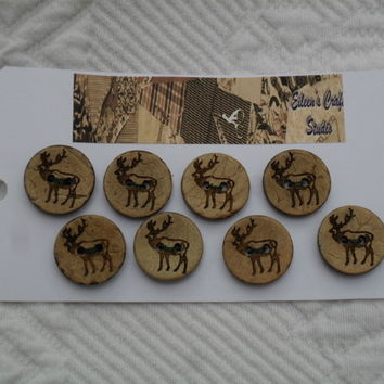 Buttons Cocoa Nut Shell Buttons with decoration of a Stag
