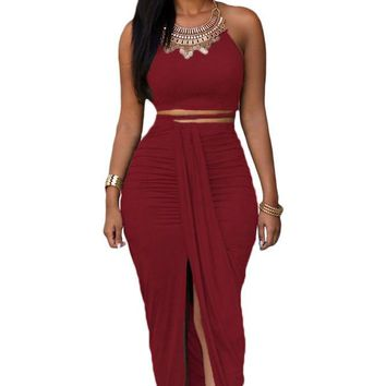 Date Red Cotton Two Piece Maxi Skirt Set