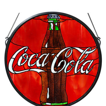 21 Inch W X 21 Inch H Coca-cola Button Medallion Stained Glass Window