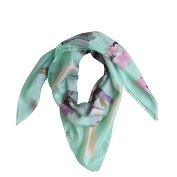 A Sea Floral Silk Scarf: Green; Large Square