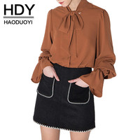 Haoduoyi  Womens Summer Bow Lantern Sleeve Solid Girl Shirts Blouses Loose Casual Feminina Femme Tops