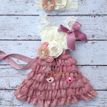 Original design  ivory rose, champagne 3pc set, dress, sash, headband, birthday outfit, infant outfit, special occasion dress, toddler