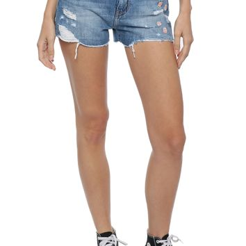 Flying Monkey Floral Embroidered Shorts