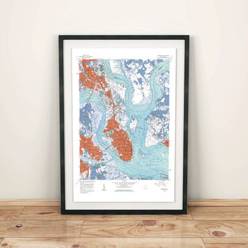 City Map Artwork, Charleston SC Art Poster, Map Poster, Vintage Map Print, Charleston Print, Art, Travel Map, City Map Poster, Map Artwork