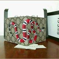 new Men Gucci GG Monogram Snake Leather Wallet 2017