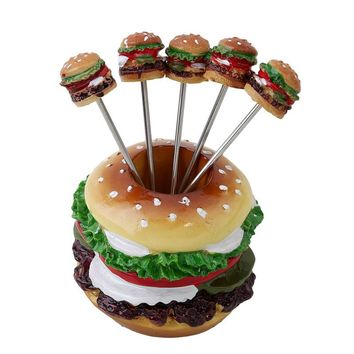 Creative Fruit Fork Party Lunch Dinner Cute Decoration Stand Holder Set Cake Snack Dessert Stainless Steel Forks QB891998