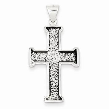 Silver Antiqued Polished Textured Cross Pendant