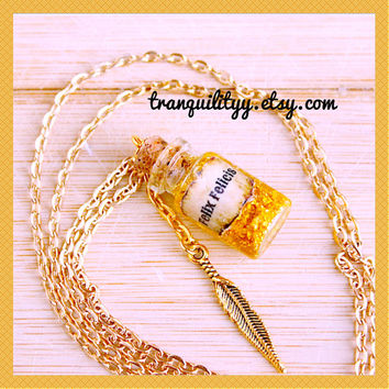 Felix Felicis Necklace Harry Potter Inspired , Liquid Luck , glass vial  1ml  Bottle  , 24K Gold Leaf Flakes By: Tranquilityy