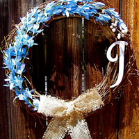 "Personalized 18"" Wreath, Front Door Decor, Summer Wreath, Etsy Wreath, Spring Wreath, Etsy Wreath, Online Wreath"