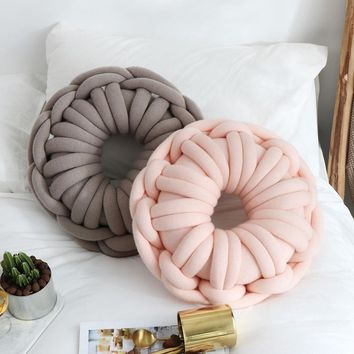 iDouillet New Decorative Knot Throw Pillow Round Doughnuts Candy Knotted Floor Cushion Nursery Kids Room Decor Pink Grey Blue
