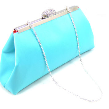 Aqua Blue and Bright Red Bridal Clutch