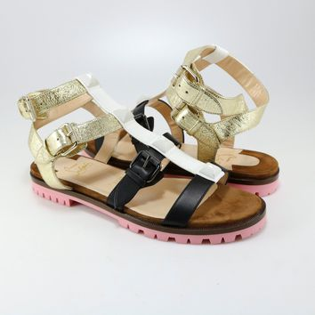 Christian Louboutin 38 Rocknbuckle Pink Brown White Gladiator Sandal Flat A255