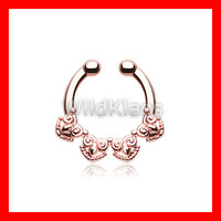 Rose Gold Fake Septum Ring Horseshoe Tribal Tetra Clip-On Ring Cartilage Earrings Nipple Ring Circular Barbell Tragus Jewelry Helix Conch