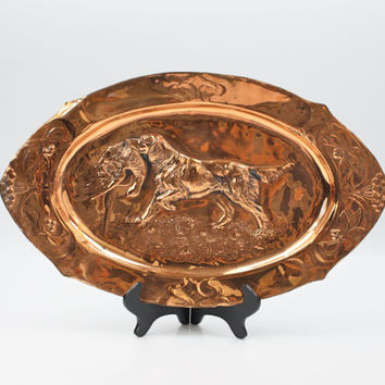 Copper Repoussé Wall Decoration /  Hunting Scene / Made in Spain