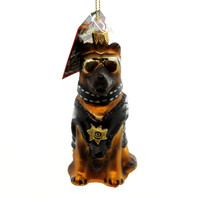 Holiday Ornaments German Shepherd Police Dog Glass Ornament